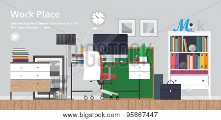 olorful vector banner. Workplace. Workspace. Quality design illustration, elements and concept. Flat style