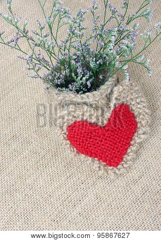 Decor, Handmade, Flower Pot, Heart, Vintage Style