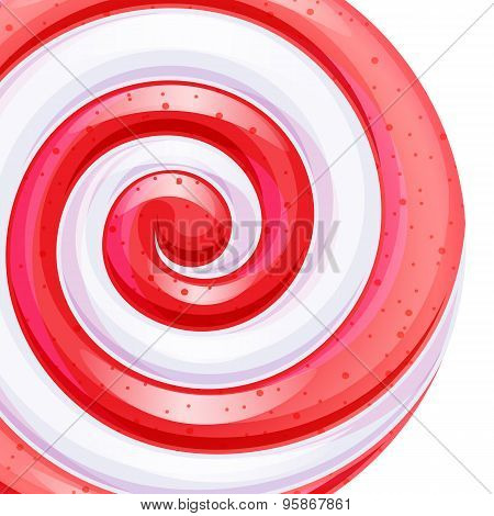 Red and white big lollipop spiral candy background.