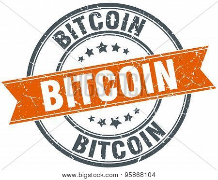 Bitcoin Round Orange Grungy Vintage Isolated Stamp