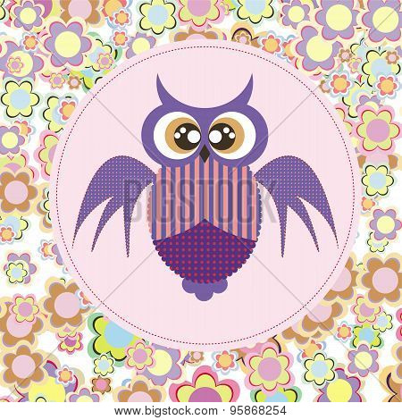 Owl Card On Flowers Among.eps