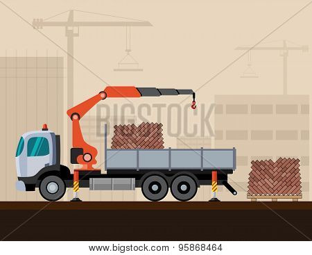 Truck Crane With Cargo
