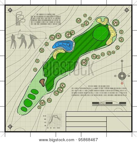 Golf Course Layout Blueprint Drawing