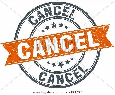 Cancel Round Orange Grungy Vintage Isolated Stamp