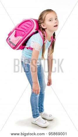 Tired Schoolgirl With Heavy Backpack Isolated