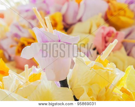 Pastel Paper Flower For Use In Thai Funeral