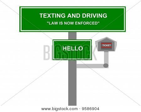 Texting and Driving Law Road Sign