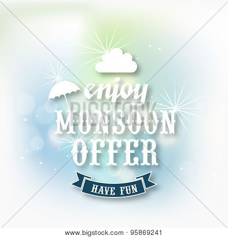 Shiny poster, banner or flyer design of sale with stylish text Enjoy Monsoon Offer.