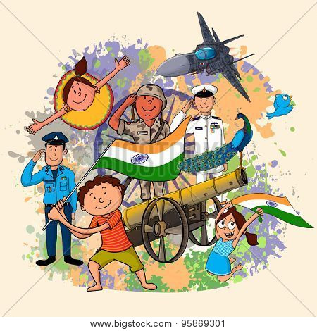 Creative illustration showing Indian strength with cute little kids celebrating Independence Day on grungy color splash background.