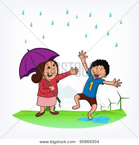 Cute little boy dancing in rains and his mother under umbrella trying to stop him, Creative illustration for Happy Monsoon Season.