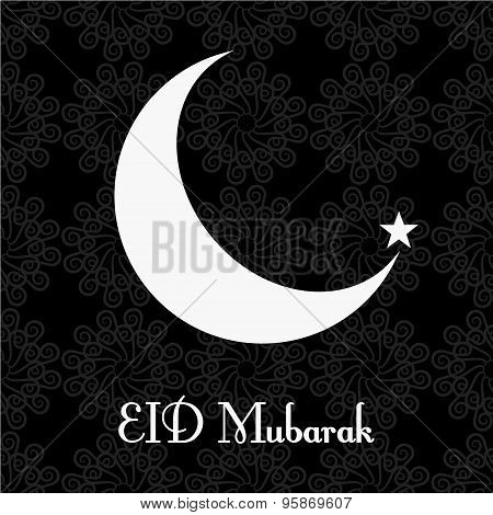 Vintage Black And White Greeting Card For Eid Mubarak Festival , Crescent Moon Decorated On White Ba