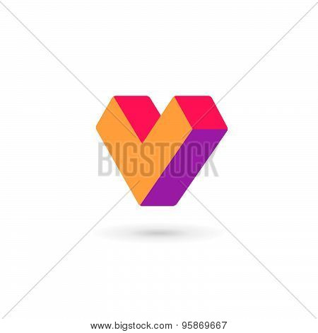 Letter V Heart Logo Icon Design Template Elements