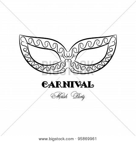 Black And White Carnival Logo, Vintage Mask, Mask Party