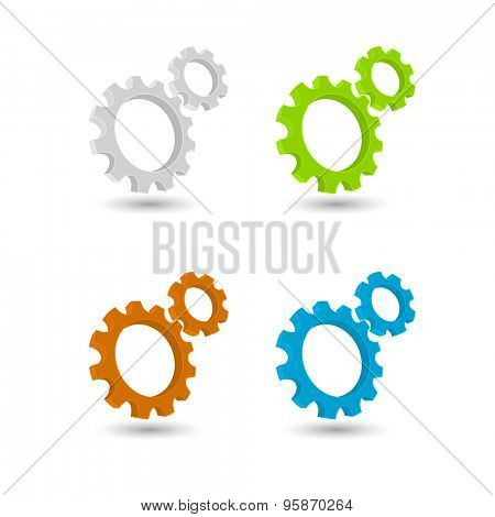 gears and cogs teamwork colored icon concept