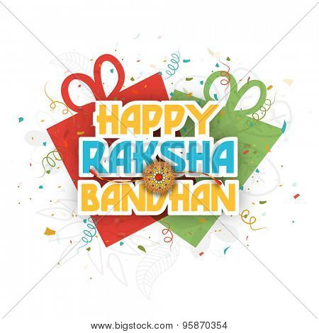 Stylish greeting card design with shiny text Happy Raksha Bandhan and beautiful rakhi on gifts decorated floral grey background for Indian festival celebration.