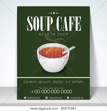 Stylish menu for soup cafe with address bar and mailer.