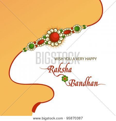 Elegant greeting card design decorated with beautiful rakhi on yellow and white background for Indian festival of brother and sister love, Raksha Bandhan celebration.