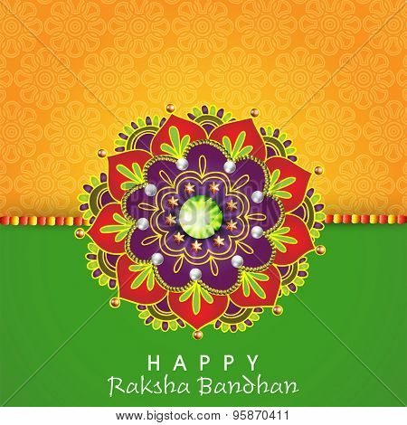Creative rakhi decorated with beautiful floral design and pearls on yellow and green background for Indian festival, Raksha Bandhan celebration.