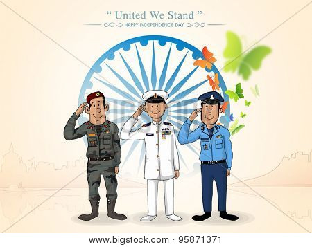 Illustration of saluting Indian force officers in front of Ashoka Wheel for Indian Independence Day celebration.