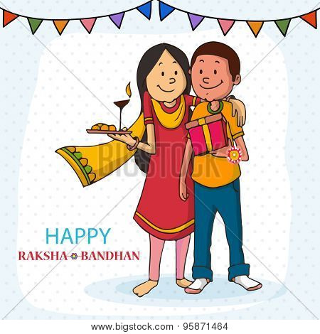 Cute sister and brother hugging each other on the occasion of Raksha Bandhan celebration.