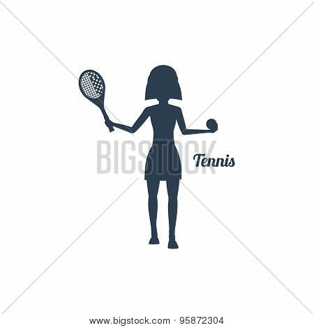 Woman with Racket and Tennis Ball Silhouettes Icon