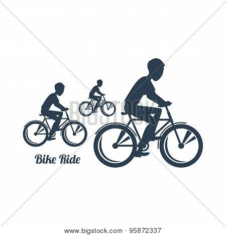 Teenagers Riding Bicycles Silhouettes Black Icon