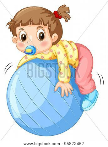 Girl toddler playing with blue ball