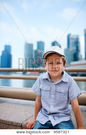 Cute Boy In Big Modern City