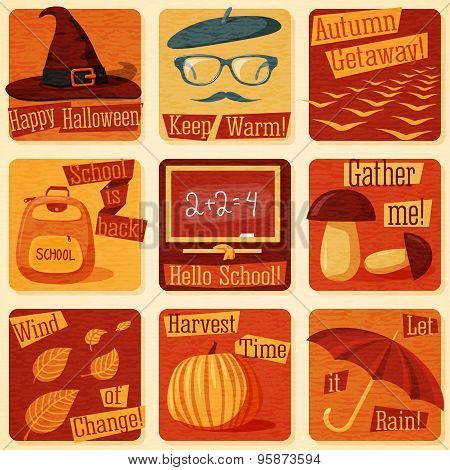 Collection of cute retro stylized autumn illustrations with fall signs. Vector