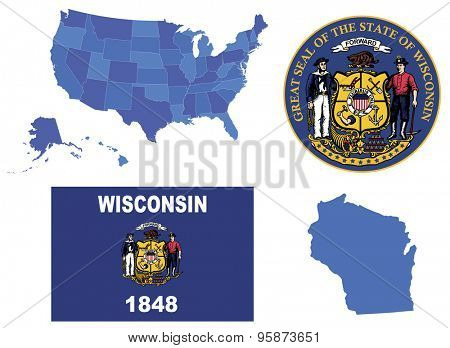 Vector Illustration of Wisconsin state,contains: High detailed USA map High detailed flag of Wisconsin state High detailed great seal of state Wisconsin State Wisconsin, shape