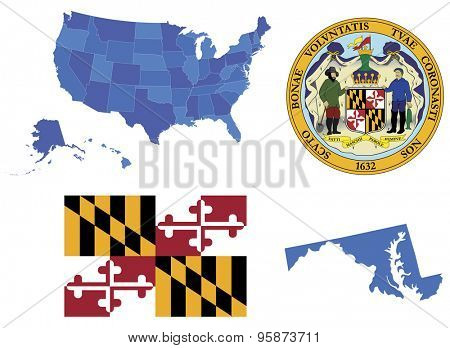 Vector Illustration of Maryland state, contains: High detailed flag of Maryland state High detailed great seal of state Maryland State Maryland, shape
