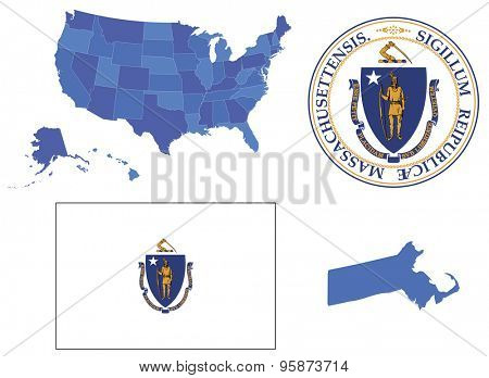 Vector Illustration of Massachusetts state, contains: High detailed map of USA High detailed flag of state Massachusetts High detailed great seal of state Massachusetts State Massachusetts, shape