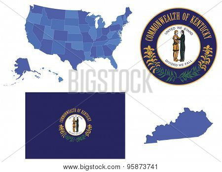 Vector Illustration of Kentucky state, contains: High detailed map of USA High detailed flag of state Kentucky High detailed great seal of state Kentucky State Kentucky, shape