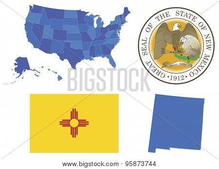 Vector Illustration of New Mexico state,contains: High detailed map of USA High detailed flag of New Mexico state High detailed great seal of state New Mexico State New Mexico, shape