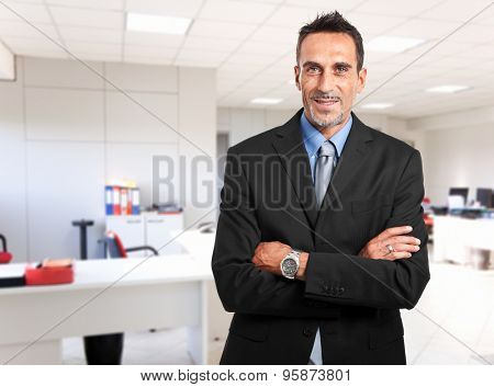 Confident businessman portrait in his office