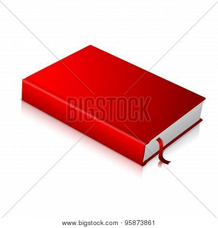 Realistic red blank hardcover book with bookmark.  Vector