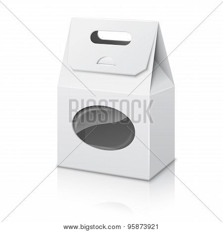 Blank white realistic paper packaging bag with handle and transparent window