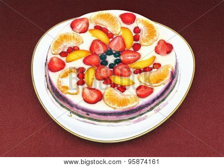 Colorful Jelly Cake With A Variety Of Fruits
