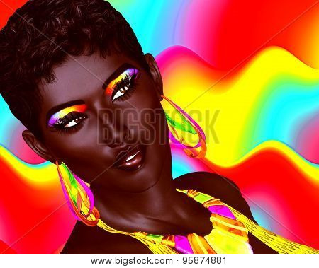 Beautiful Black Woman with colorful make up and a wavy Summer fun background. Large colorful hoop ea