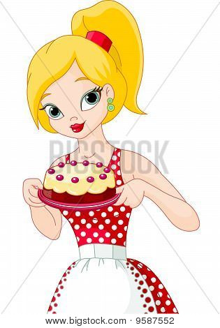Young Woman Holding Cake
