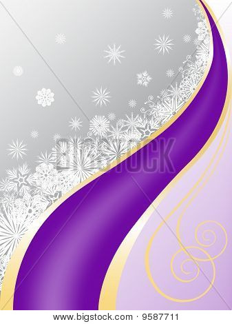 Gray-purple Background With Snowflakes