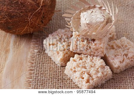 Coconut Candy Cocada On Sackcloth