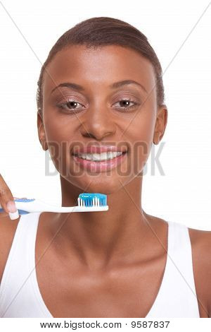 Dental Hygiene Afro-american Girl With Toothbrush