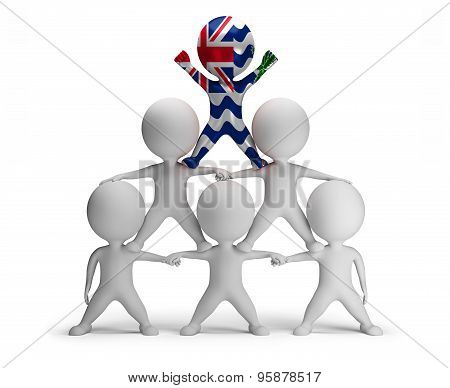 3d small people standing on each other in the form of a pyramid with the top leader British Indian O
