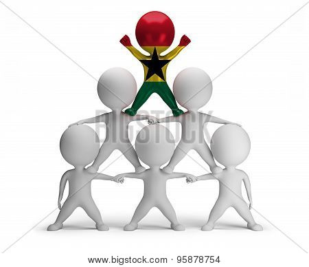 3d small people standing on each other in the form of a pyramid with the top leader Ghana