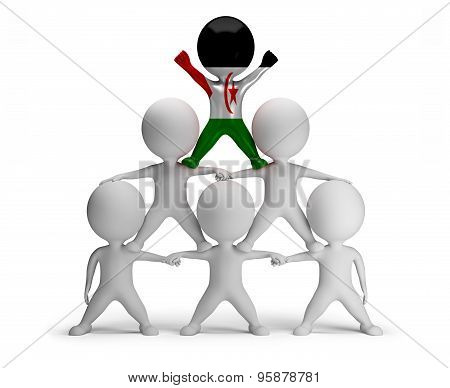 3d small people standing on each other in the form of a pyramid with the top leader Western Sahara