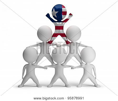 3d small people standing on each other in the form of a pyramid with the top leader Liberia