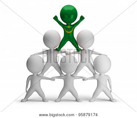 3d small people standing on each other in the form of a pyramid with the top leader Mauritania