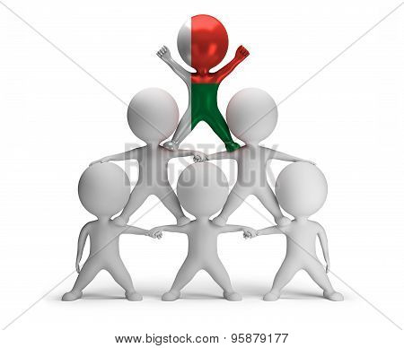 3d small people standing on each other in the form of a pyramid with the top leader Madagascar