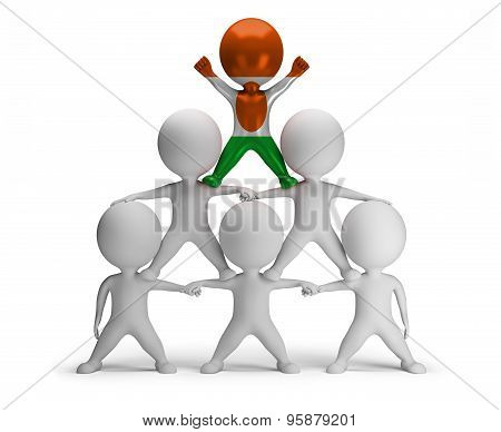 3d small people standing on each other in the form of a pyramid with the top leader Niger